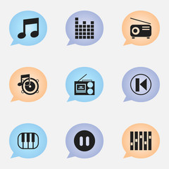 Set Of 9 Editable Audio Icons. Includes Symbols Such As Piano, Pause, Music