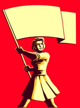 Vintage soviet socialist propaganda style patriot woman holding blank flag vector illustration, political protest activism patriotism