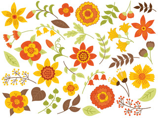 Vector Autumn Floral Set
