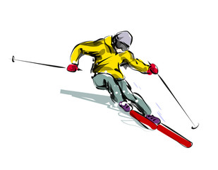 Vector color line sketch skier