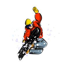 Vector color line sketch snowboarder