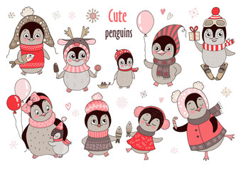 Christmas big set with ten cute penguins and snowflakes for new year's design
