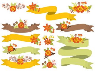 Vector Set of Autumn Floral Ribbons