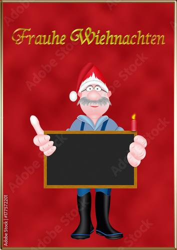 Weihnachtsgrüße Plattdeutsch.Plattdeutscher Weihnachtsgruß Fischer Mit Weihnachtsmütze Und