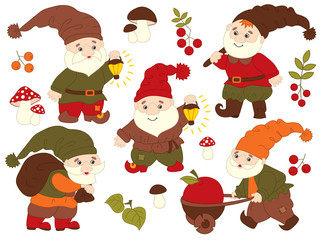 Vector Set of Cute Carton Gnomes