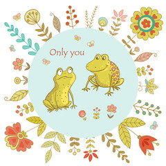 Vintage frame for your design with cute frogs and flowers