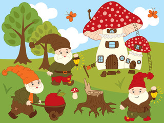 Vector Set of Cute Cartoon Forest Gnomes