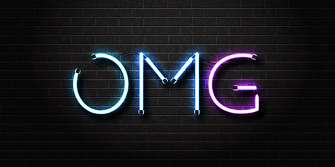 Vector realistic isolated neon sign of OMG lettering for decoration and covering on the wall background.