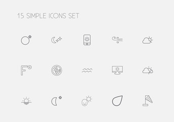 Set Of 15 Editable Air Outline Icons. Includes Symbols Such As Water Bearer, Male, Wind Measurement And More. Can Be Used For Web, Mobile, UI And Infographic Design.