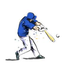 Vector color line sketch baseball