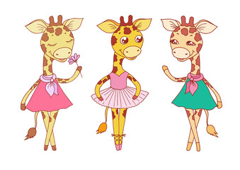 Cute giraffes - with closed eyes in pink dress, ballerina dances in a tutu and on pointes