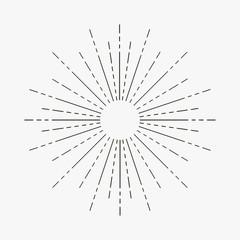 Vintage sunburst. Linear rays of sun. Hipster retro starburst element. Vector illustration.