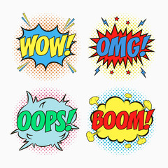 Comic speech bubbles with emotions - WOW! OMG! OOPS! And BOOM! Cartoon sketch of dialog effects in pop art style on dots halftone background. Vector illustration.