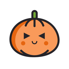 Happy pumpkin flat line emoji icon with evil eyes on white isola