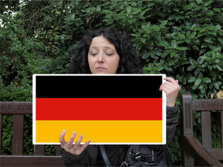 Girl with German Flag of Germany