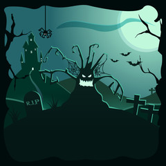 Halloween background illustration. Can be used with your own text. Vector poster