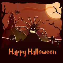 Happy Halloween background illustration. Can be used with your own text. Vector poster