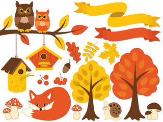 Summer Autumn Set with Animals and Plants