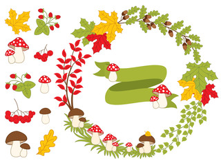 Vector Autumn Forest Set with Wreath and Forest Plants