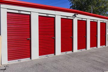 Numbered self storage and mini storage garage units I Wall mural