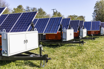 Mobile Photovoltaic Solar Panels on trailers. The ultimate in portable and emergency power, each unit is also equipped with a generator V Fotoväggar