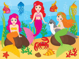 Vector Set of Beautiful Mermaids and Sea Life Elements