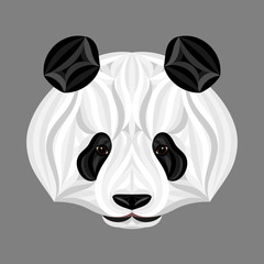 Panda bear, picture of panda head, panda face illustration
