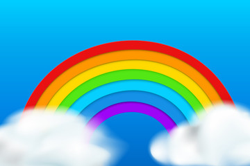 rainbow on blue background