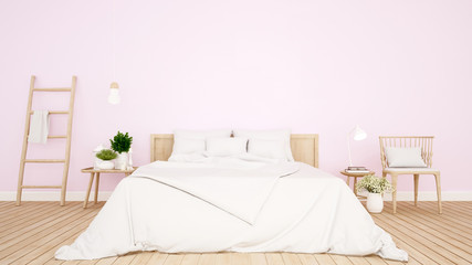 bedroom and living area pink tone in Apartment or hotel - Interior Design - 3D Rendering