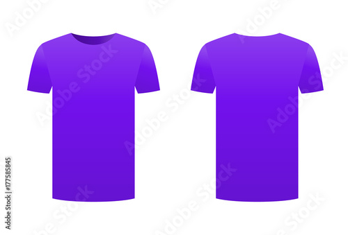 Violet purple t-shirt template shirt isolated on white background ...