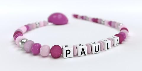 Schnullerkette mit Namen - Paula
