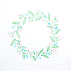 Hand drawing flowers in watercolor style on white paper background, flowers wreath with copy space for text, greeting card background, banner