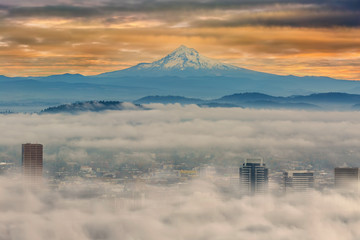 Rolling Low fog over City of Portland in Oregon USA America