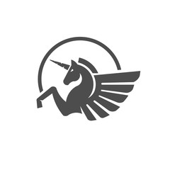 Winged unicorn logo vector illustration. Stylized mythical creature silhouette, horse winged logo vector,