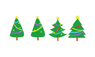 Fully Decorated Simple Christmas Tree Vector Graphic Set