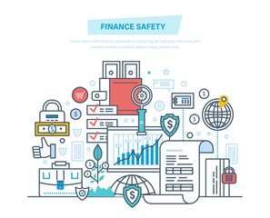 Finance safety, security, online banking, data protection, payment, safe deposits.