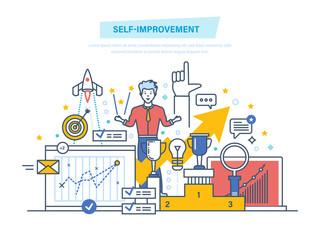 Self improvement. Self development, personal qualities growth. Leadership skills, successful.