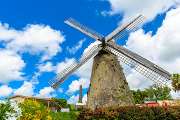The Morgan Lewis Mill in Barbados - on tropical caribbean island - was the last working mill on the island and was believed to be built in 1727. Travel destination on island.