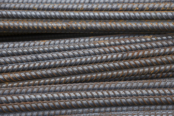 Steel bars.Reinforcing bar.rusty steel bars construction materials, in a construction site