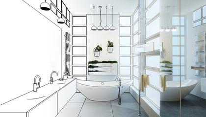Contemporary Bathroom Adaptation (drawing)