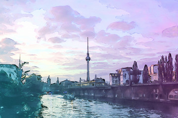 Berlin at Sunset - Illustration - Alexanderplatz - Alex TV Tower