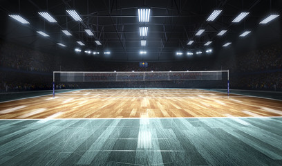 Empty professional volleyball court in lights Wall mural