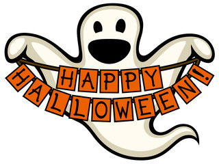 Vector illustration of a cartoon ghost holding a Happy Halloween sign.