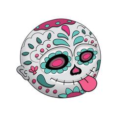 Emoji Tongue. Day of the dead. Dia de Los Muertos. Halloween. Vector Illustration