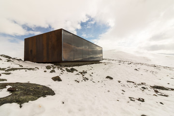 Viewpoint Snohetta in Dovrefjell, Norway, vinter and snow
