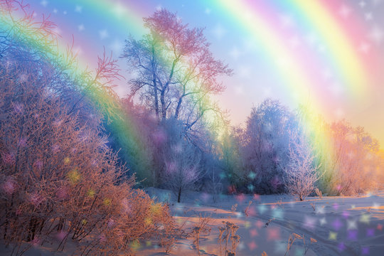 magical winter forest with rainbows and colorful snowflakes
