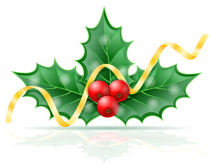 christmas holly berries stock vector illustration