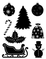 christmas objects set icons black outline silhouette stock vector illustration