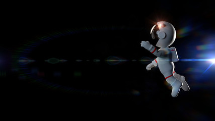 white cartoon astronaut character weightless in space