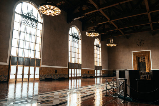 beautiful art deco lobby of union station, los angeles